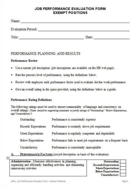 employee evaluation form templates free word excel