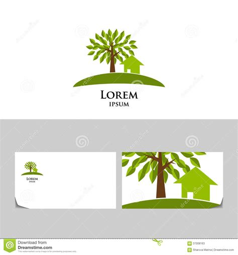 tree card template eco logo with tree and house stock vector illustration