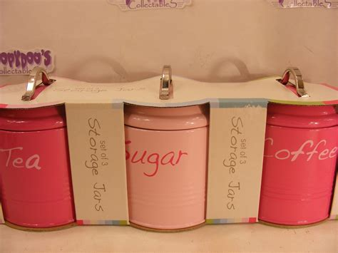 bnib set of 3 pink kitchen canisters coffee tea sugar