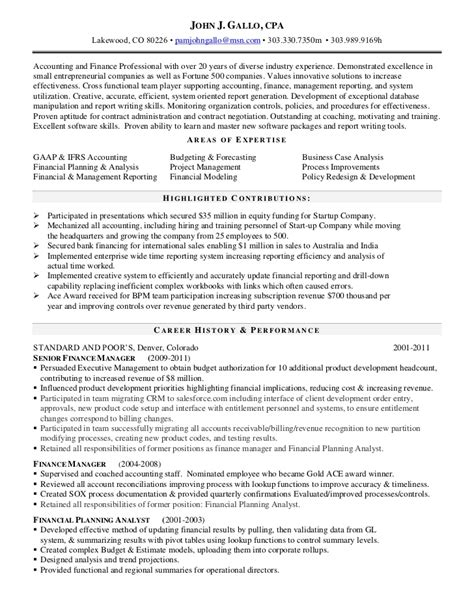 Cpa Resume by Gallo Cpa Resume Current