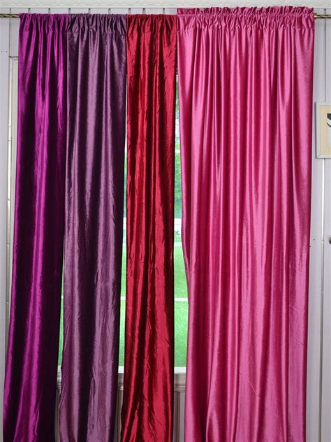 Pink And Purple Curtains 63 Inch 96 Inch Pink And Purple Blackout Grommet Velvet Curtains Cheerycurtains