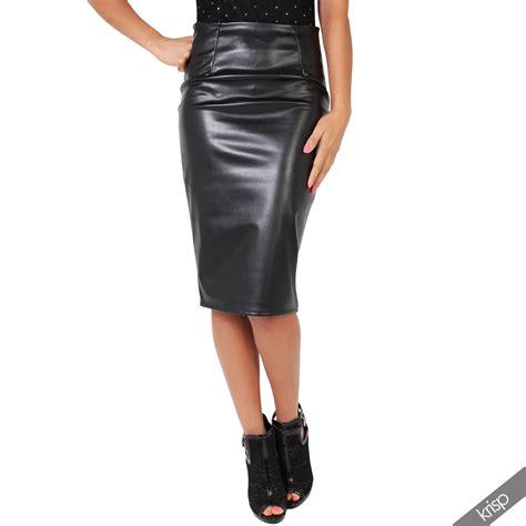 Pu Stretch 19 Silver womens look stretch pu leather pencil bodycon mini midi skirt ebay