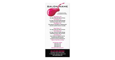free salon rack card template nail salon price list rack cards zazzle co uk
