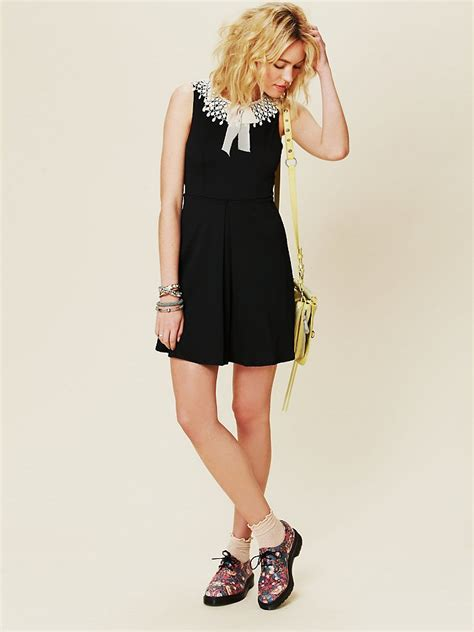 Dress Fashion Black Wafel lyst free waffle knit collar dress in black