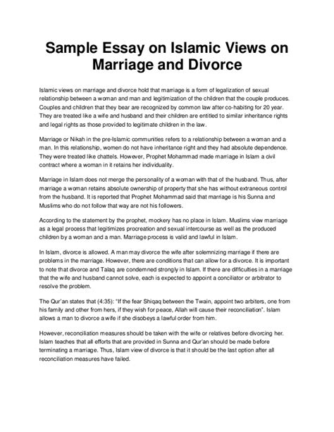 Marriage Persuasive Essay by Sle Essay On Islamic Views On Marriage And Divorce