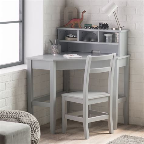 corner desk for room classic playtime juvenile corner desk and reversible hutch with chair gray desks at
