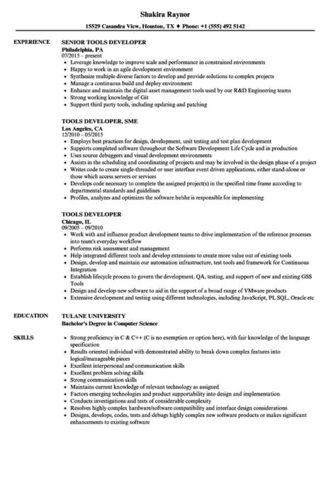 Resume Tools by Tools Developer Resume Sles Velvet