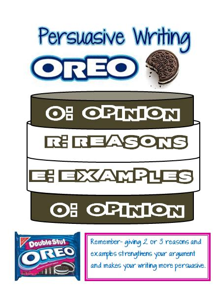 Oreo Template For Persuasive Writing by Our Cool School Persuasive Writing Oreo Updated With