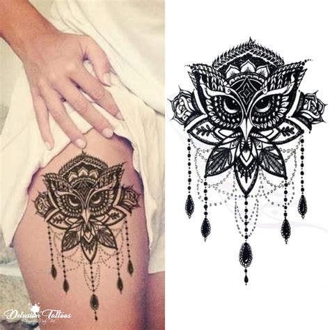 henna tattoo tribal art owl mandala temporary lotus flower henna