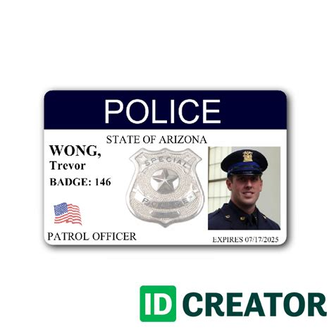 enforcement id card template horizontal badge contact us at 1 855 make ids