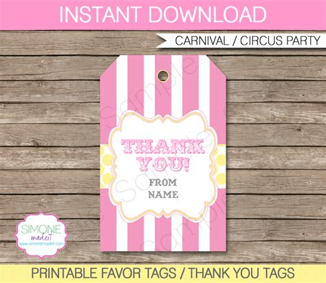 thank you favor tags template pink carnival favor tag template thank you tags