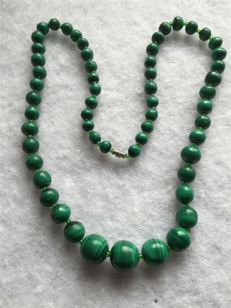 malachite bead necklace a malachite bead necklace with silver clasp catawiki