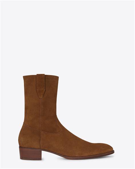 ysl boots laurent classic wyatt 40 boot in ocher suede ysl