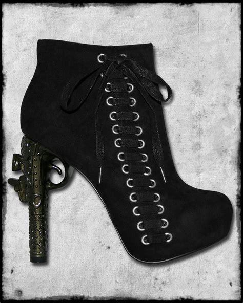 Piero Shoes Gunt Boot fast black gun heel vtg pistol steunk zip lace ankle boots ebay