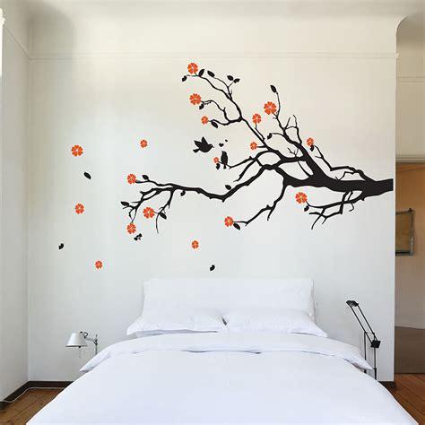 birds on branch tree vinyl wall art sticker decal art cherry blossom tree branch with birds vinyl wall art decal