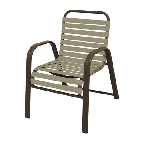 Vinyl Patio Chairs Marco Island Brownstone Commercial Grade Aluminum Patio Dining Chair With Putty Vinyl Straps 2