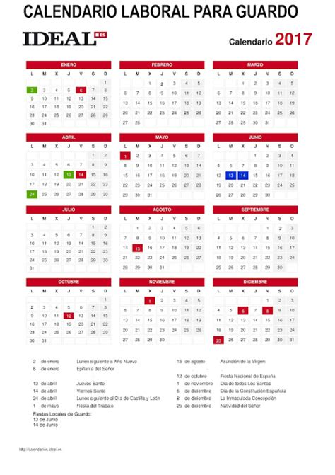 Calendario Octubre 2017 Usa Calendario Laboral 2017 Para Guardo