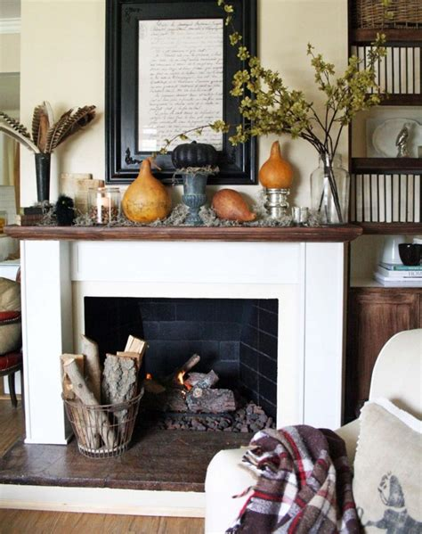 fall decor ideas   fireplace mantle