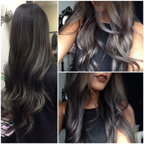how to make grey highlights on brown hair looks perfect i love it hair make up pinterest