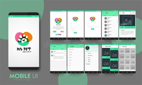 layout site app material design ui ux and gui for mobile apps stock