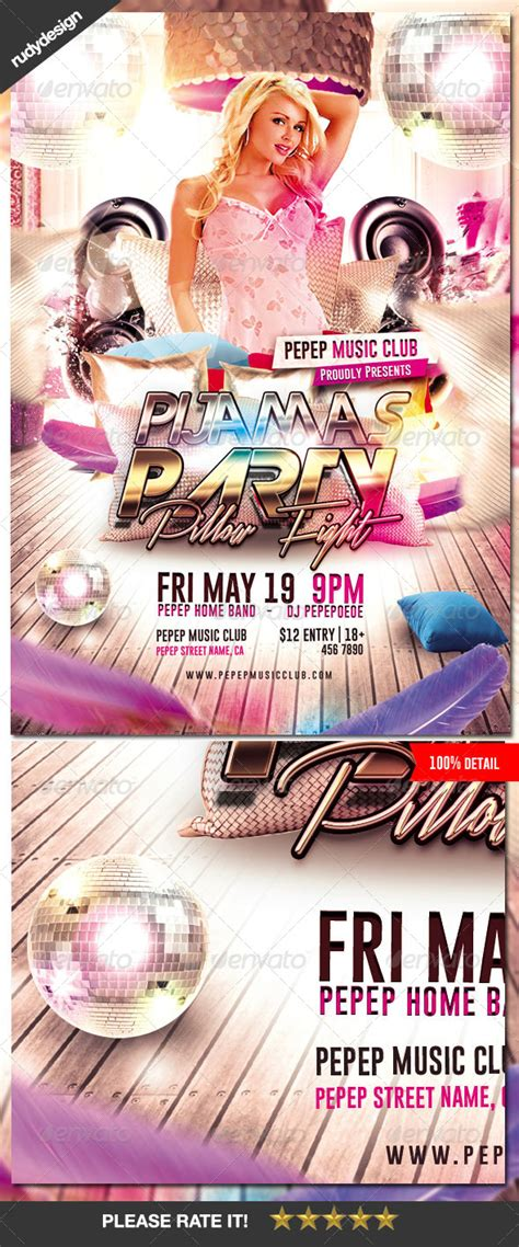 Pajama Party Flyer By Rudydesign Graphicriver Pajama Flyer Template