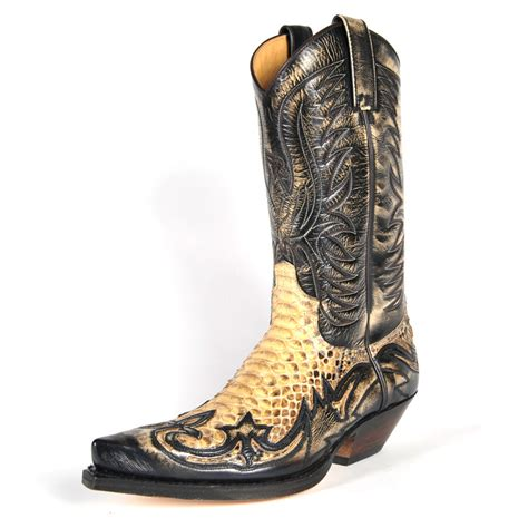 sendra boots sendra 3241 unisex cowboy boots brown leather real python
