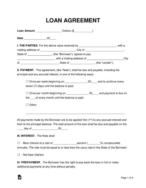 Free Loan Agreement Templates Pdf Word Eforms Free Fillable Forms Unsecured Loan Agreement Template Free