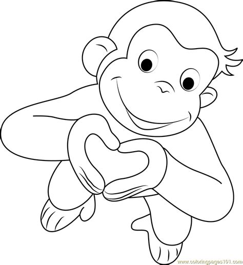 monkey valentine coloring pages valentines day curious george coloring page free curious