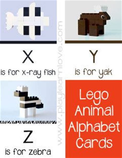 lego animal alphabet cards preschool and toddler leaning