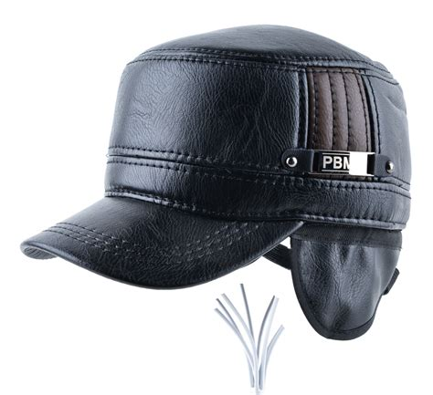 mens leather cap with ear flaps russia flat top caps for