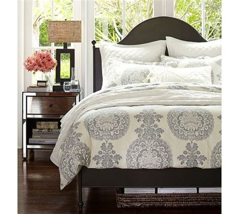 pottery barn metal bed bedding lucianna medallion duvet cover sham gray
