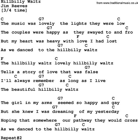 waltz lyrics country hillbilly waltz lyrics and chords