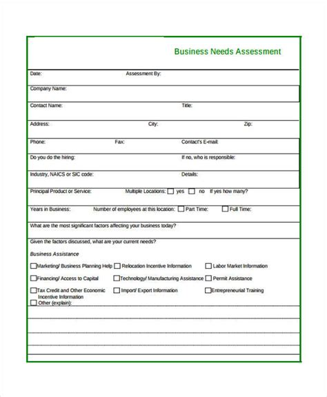 assessment template doc 580620 business needs assessment template