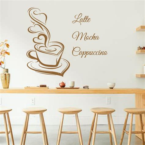 Wall Stiker Coffee Cafe Rumah Dekorasi Dinding Kopi Cutting Sticker Design Coffee Wall Decals Latte Mocha Cappuccino