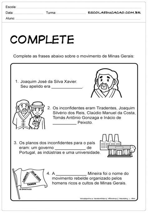 Atividades Sobre Tiradentes - Para Imprimir - Educação