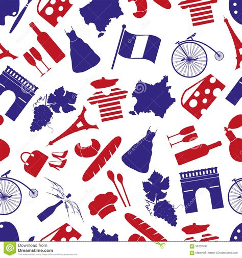 travel pattern in french france country theme symbols seamless pattern stock vector