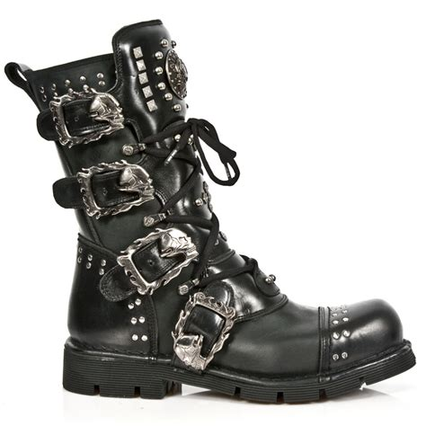 black leather combat boots black leather studded new rock combat boots
