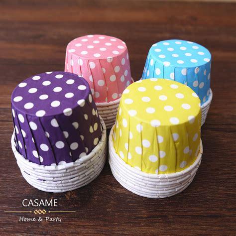 Cup Cake Paper Cupcake Polkadot Cake Polkadot 100pcs nut portion cups baking mini box color polka dot paper cake cup cupcake bake cups muffin
