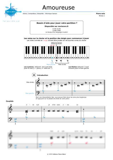 tutorial piano veronique sanson partition piano amoureuse v 233 ronique sanson partitions