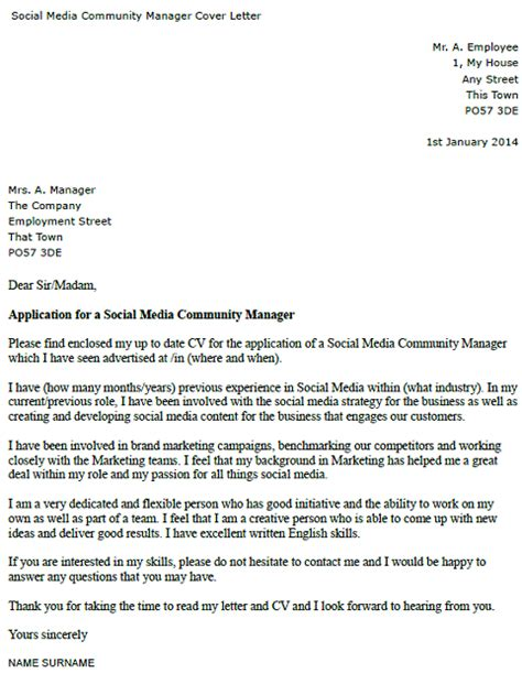 Community Manager Cover Letter by Social Media Community Manager Cover Letter Exle