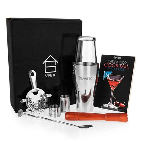 cocktail set savisto 8 boston cocktail shaker gift set recipe book