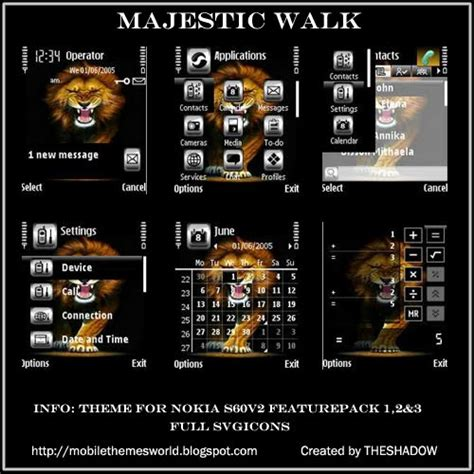 nokia s60v2 themes majestic walk nokia s60v2 theme by theshadow mobile