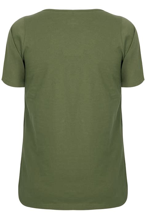 Neck Basic T Shirt khaki scoop neck basic t shirt plus size 16 to 36