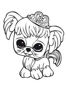 little pet shop little dog wearing crown coloring pages