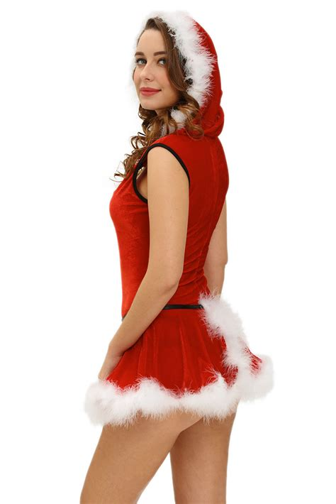 sexy women christmas plus size soft fur trim red santa