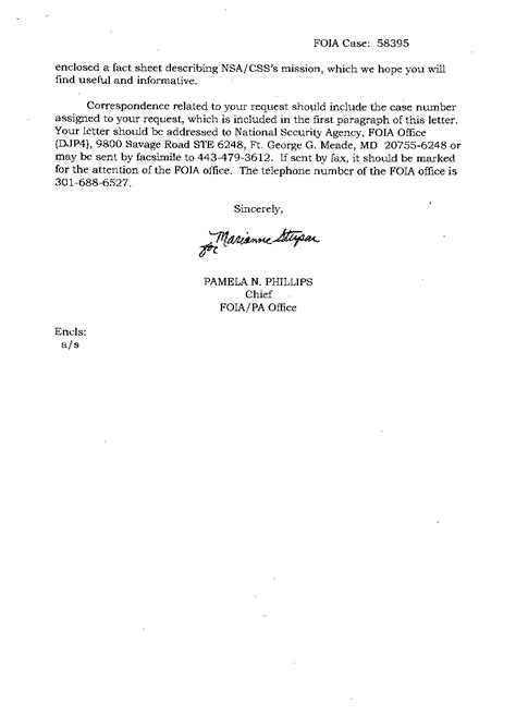 cover letter pages the chaocipher clearing house foia response