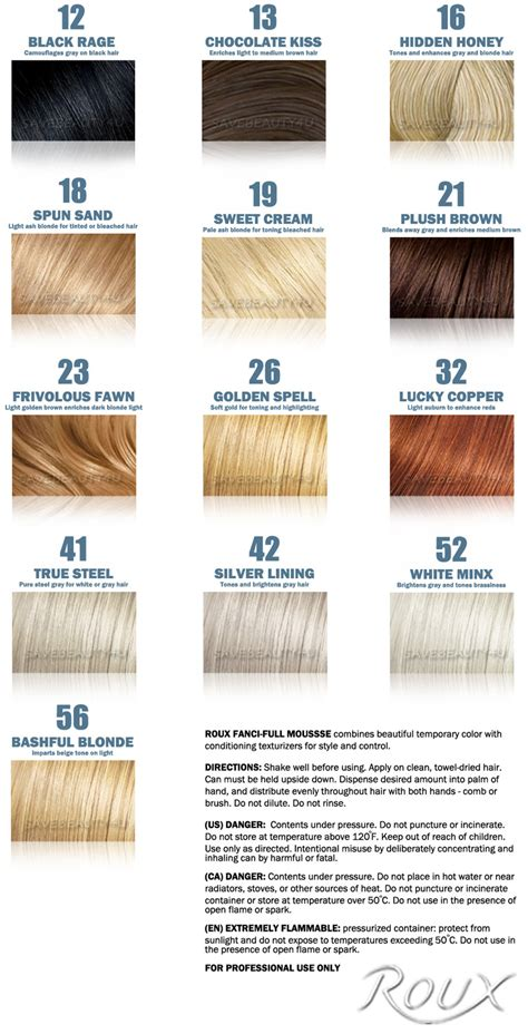 hair rinse colors roux fanci hair rinse color chart roux fanci