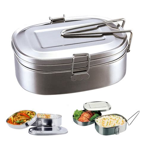 Bento Oval Sekat 4 large stainless steel student oval bento lunch box food container 2 layers lazada malaysia