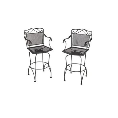 black wrought iron patio chairs wrought iron black swivel patio bar chairs 2 pack discontinued w3929 bar bk the home depot