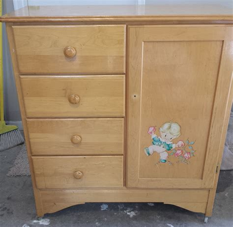 Childs Armoire by Decoupage Using Napkins On Wood Furniture Hearts Sharts